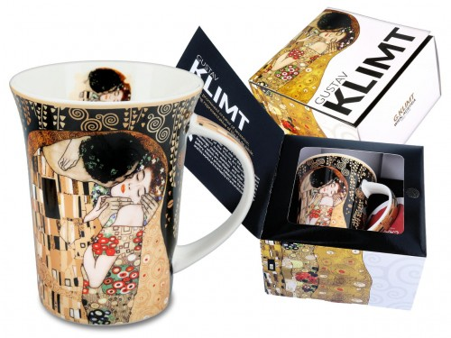 Kubek z porcelany Gustav Klimt The Kiss (czarne tło) 330ml 532_8121